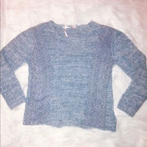 Light Blue Lace Detail Sweater - XS 0 or 2